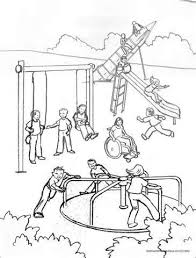 Kids Playing On Playground Clipart Black And White Loading
