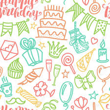 Gift Wrap In Assorted Designs Birthday Bash Happy Lettering And Doodle Seamless Pattern Vector Illustration On White Background Funny