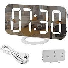 spiegel wecker digitaler wecker große 6 5 led anzeige mit dimmer modus zur helligkeitsmessung einstellbare helligkeit 2 usb ladeanschlüsse für