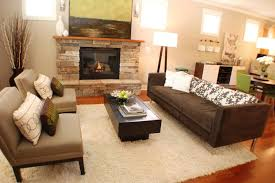 Dark Brown Sofa Living Room Ideas by Natural Stone Fireplaces Hgtv