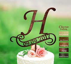 H Cake Topper Rustic Monogram Wedding Date Toppers Wooden