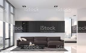 modernen schwarzweiß wohnzimmer und schlafzimmer interior 3d render bild stockfoto und mehr bilder architektur