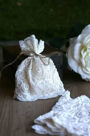 LaCe Wedding Favor Bags Ivory Lace Rustic Vintage Style Baby Shower