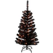 F3 4ft Pre Lit Black Christmas Tree