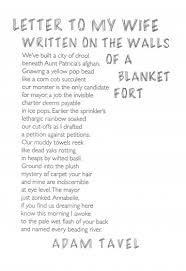 """Letter to my Wife Written on the Walls of a Blanket Fort"""" by Adam"""