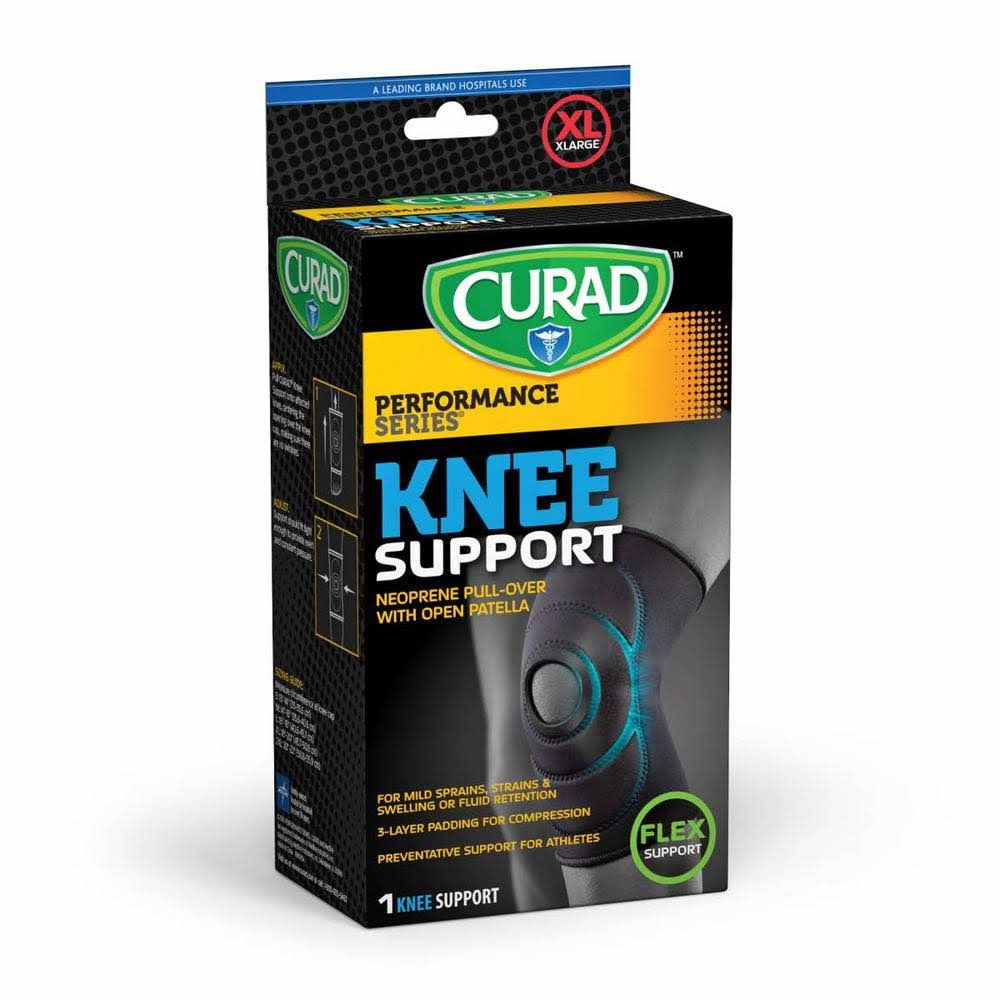 Curad Open Patella Knee Supports - Black, X Large