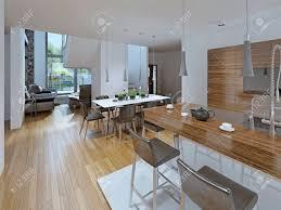 küche mit essbereich kombinierte esszimmer mit küche der kontrast zwischen weiß und braun tisch für acht personen und eine bar 3d übertragen