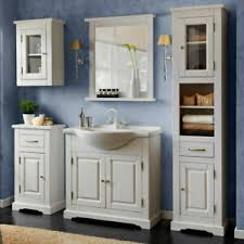 details zu badmöbel komplett set massiv weiß 85cm keramik waschtisch badezimmer hochschrank