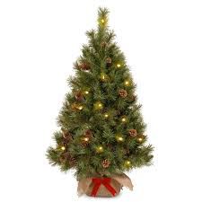 4ft Prelit Battery Operated Pine Cone Burlap Artificial Christmas