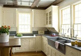 Modern Vintage Kitchen Ideas Antique White Decor Using L Shape Whit Cabinet And