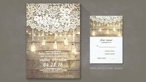Lace And Mason Jars Rustic Barn Wedding Invitations