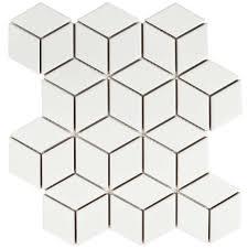Merola Tile Metro Rhombus Matte White 10 1 2 In X 12