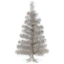 3ft Christmas Tree 3 Ft Silver Tinsel Artificial Fibre Optic White