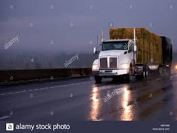 100 Truck Bed Trailers Powerful Day Cab Big Rig Semi Truck Transporting Pressed Hay On Two