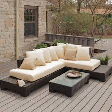 furniture l shaped patio furniture with wooden deck pattern and