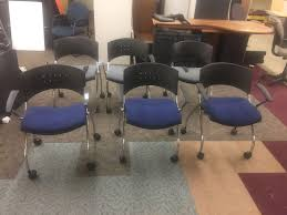 Lot Of Six Rolling Stackable Chairs: 3 Blue, ... | WHITEFORD Bethel ... Mesh Office Chair Computer Ergonomic Tx Executive Chairs And Leather Staples For Sale Prices Brands New Used Fniture Chicago Center Godrej Suppliers High Back Modern Wayfair Basics Reviews Rh Logic 400 From Posturite Eames Herman Miller Embody Hag Capisco Fully