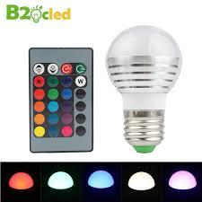 2 pcs 3w rgb bulb light e27 with remote bulb energy saving