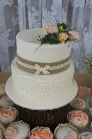 Two Tier Rustic Bridal Shower Cake With Ruffles Layers Burlap And Lace A Spray Od