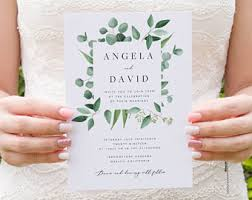 Greenery Wedding Invitation Template Eucalyptus Printable DIY Templett PDF Instant Download Editable Rustic