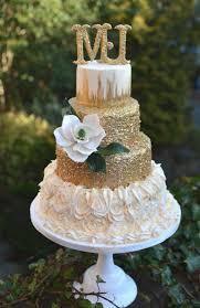 Gold Sugar Magnolia Wedding Cake