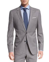 hugo plaid suit genius tonal plaid two slim wool suit light gray