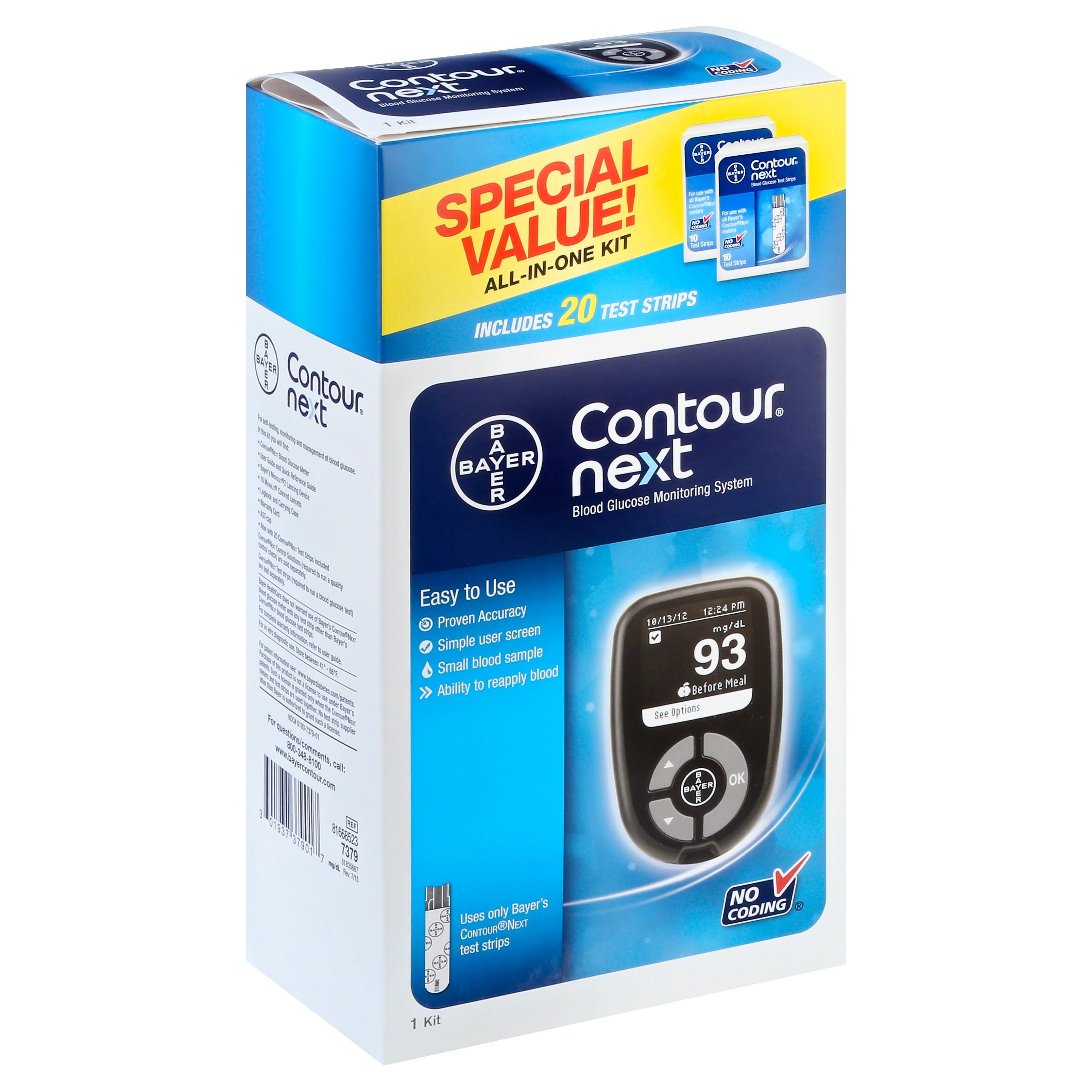 Contour Next Blood Glucose Monitoring System Kit - 20 Test Strips
