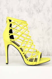neon yellow caged accent open toe single sole high heels nubuck