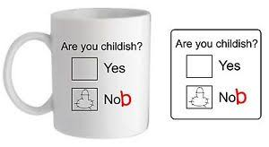 ARE YOU CHILDISH KNOB NOB MUG COASTER RUDE FUNNY SWEAR NOVELTY