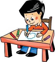 Vector Illustration With A Boy Drawing At The Table Stock Vector