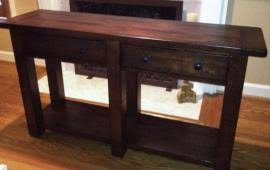 Ship My NEW POTTERY BARN BENCHWRIGHT WOOD CONSOLE TABLE RU to Omaha