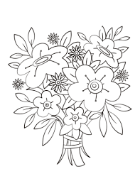 to see printable version of Flowers Bouquet Coloring page