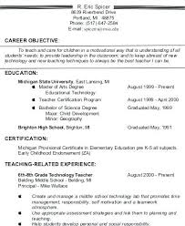 Resume Career Objective Examples Teacher Example For Freshers Engineers