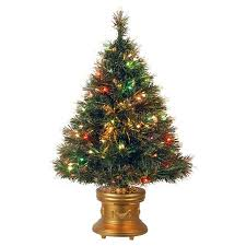 National Tree Pre Lit 36 Fiber Optic Ice Artificial Christmas With Revolving LED