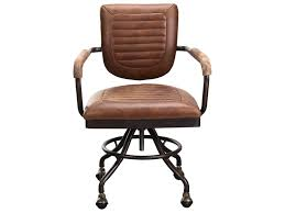 Foster Industrial Leather Desk Chair By Moe's Home Collection At Stoney  Creek Furniture