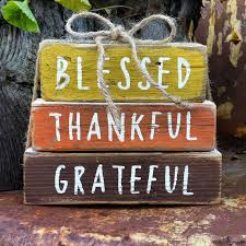 Wooden Fall Stackable Blocks Home Decor Harvest Thankful Blessed Grateful