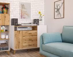 sideboard wohnzimmer kommode schubladen 134cm weiß wotan eiche