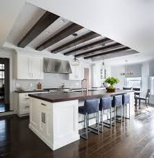 whitewashed ceiling beams kitchen transitional with beamed