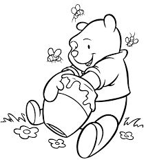 Winnie The Pooh Getting Delicious Honey Coloring Page