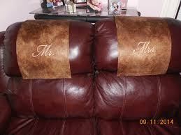 Sofa Headrest Covers Set by Recliner Headrest Covers Machine Embroidered On Two Tone Leather