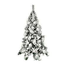 Snow Dusted 55 Green Pine Artificial Christmas Tree With Metal Stand