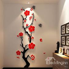 Stunning Plum Flower 3D Wall Stickers Open Beddinginn