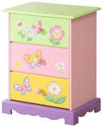 wodeny kinder schubladen mädchen kommode schlafzimmer aufbewahrungsboxen für kinder mit schmetterlingsblumen gemälden rosa grün gelb lila