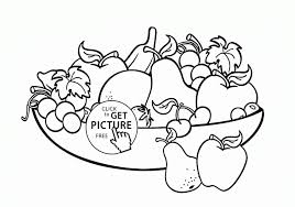Big Bowl Of Fruits Coloring Page For Kids Pages In A Plants