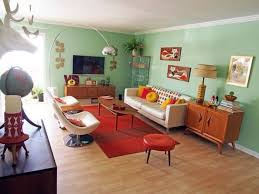 Mint Green Walls Of This Mid Century Modern Living Room Are Balanced With A Red