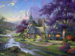 Thomas Kinkade Christmas Tree Village by Drawing U0026 Painting Thomas Kinkade Clocktower Cottage Desktop