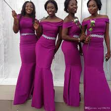 mermaid purple nigerian bridesmaid dresses charming off shoulder