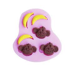 moule cuisine heureux de bande dessinée singe banane forme silicone gâteau moule