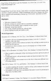 Stock Resume ENC3 1 Retail Clerk Templates Try Them Now