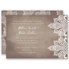 Vintage Lace Wedding Invitation By Davids Bridal A Chic Rustic Design Of Antique Printed On Subtle Wood Grain Background Both Sides This