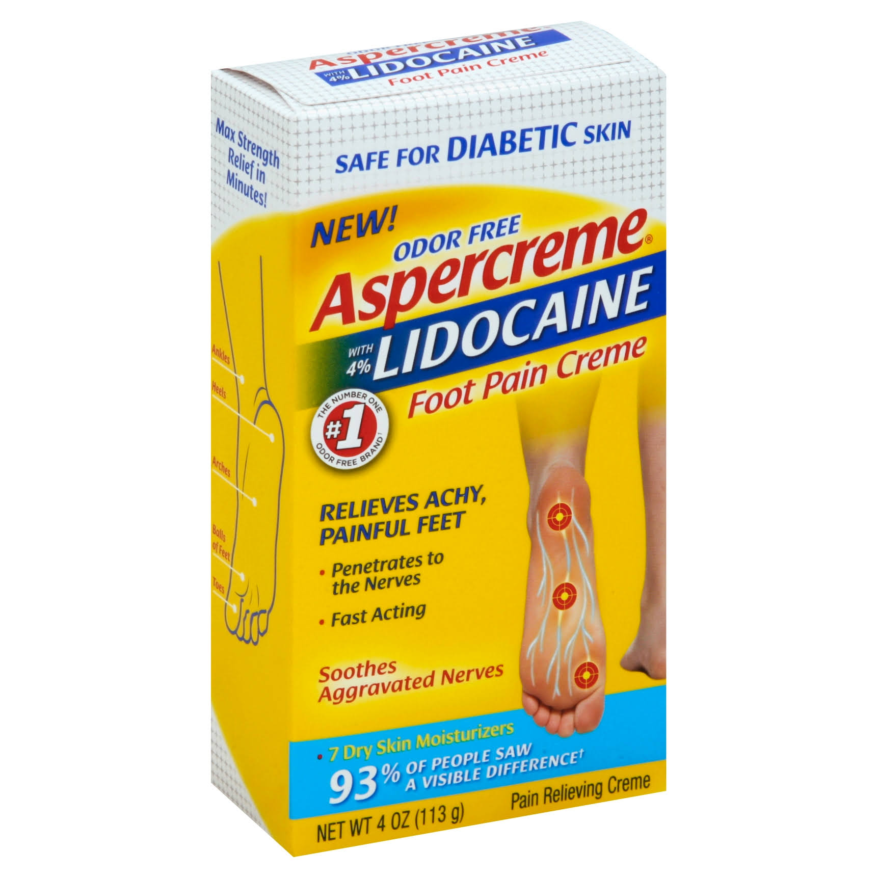 Aspercreme Foot Pain Creme, with 4% Lidocaine, Odor Free - 4 oz